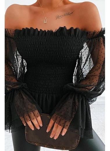 BLACK&GRACE Siyah Straplez Tül Aksesuarlı Bluz Siyah